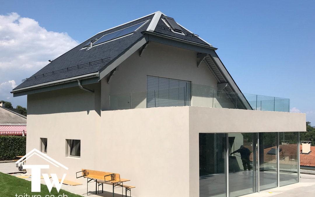 Rénovation et transformation énergétique d'un toiture pour une villa à Chambésy